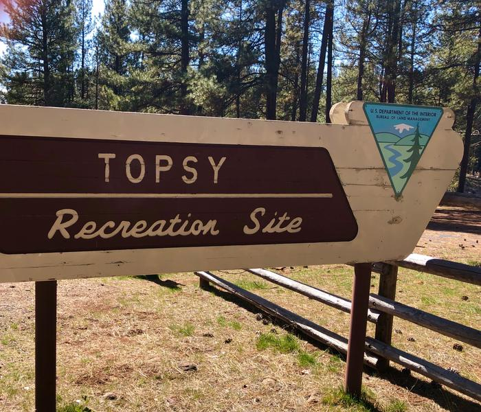 Topsy Recreation SIte Entrance SignView of teh Topsy Recreation SIte Entrance Sign