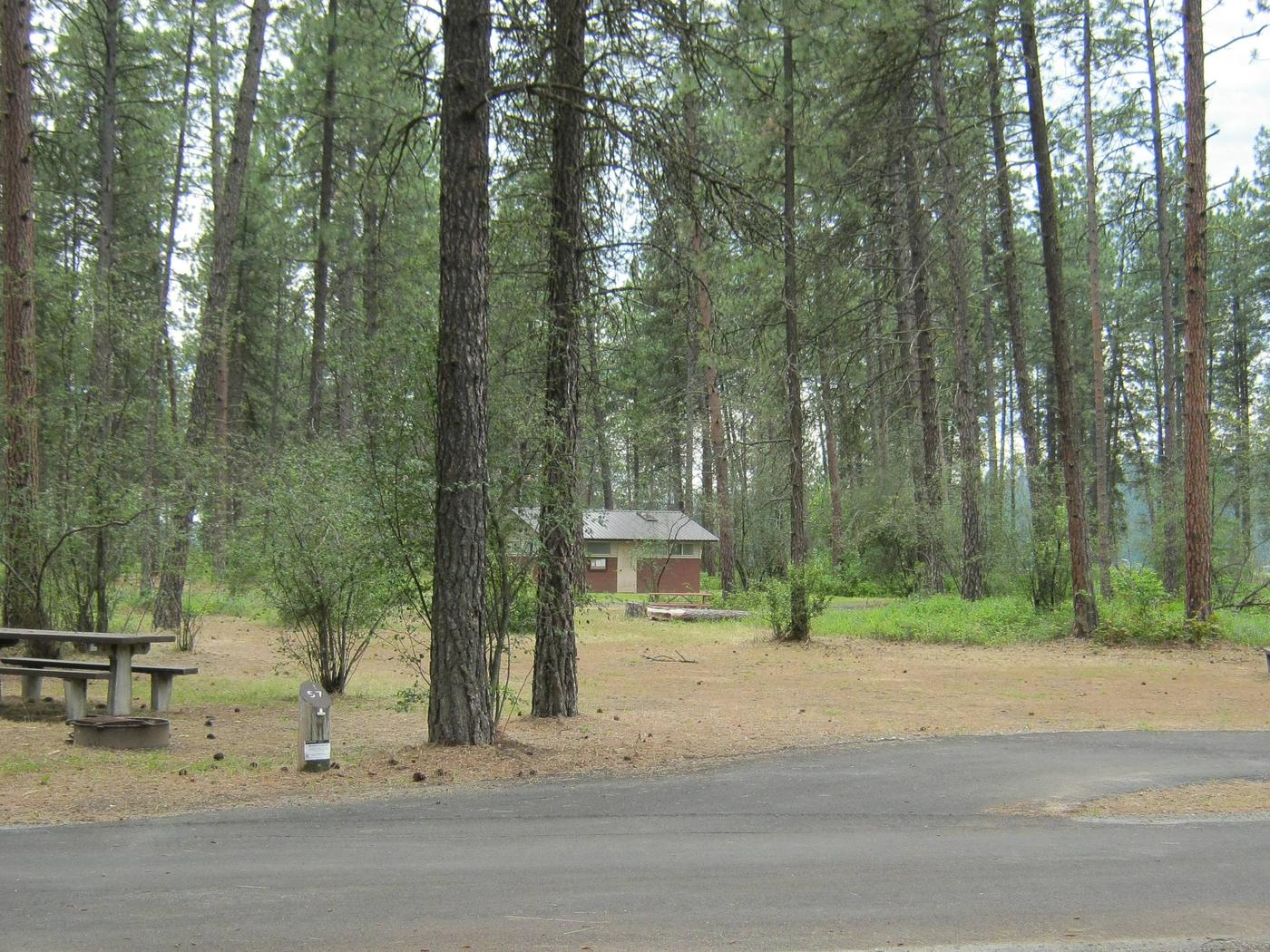 Pine trees in the backdropPull through paved parking