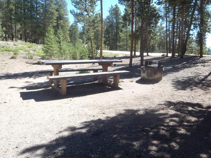 Lakeview Campground, Site A2 picnic table and fire ring