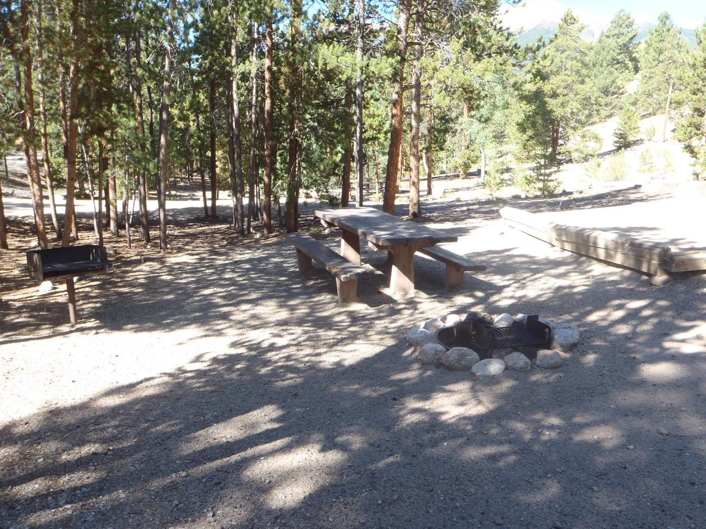 Lakeview Campground, site A8 picnic table and fire ring