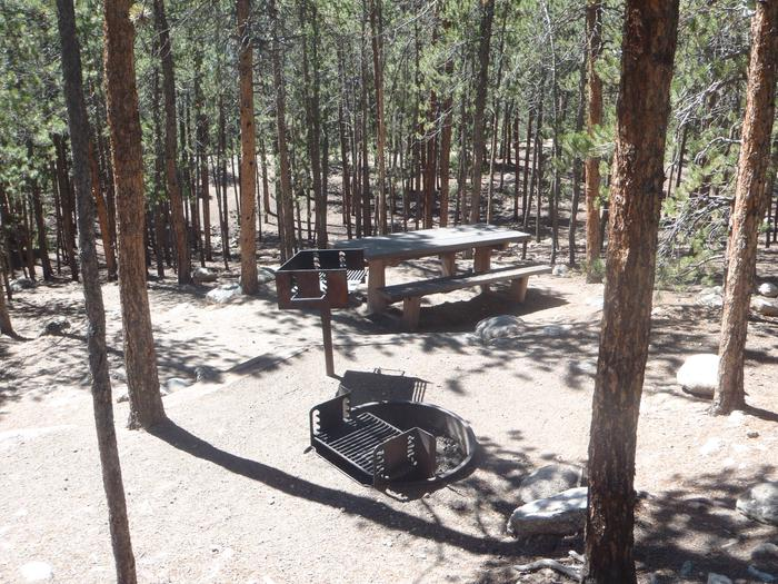 Lakeview Campground, site A13 fire ring and picnic table