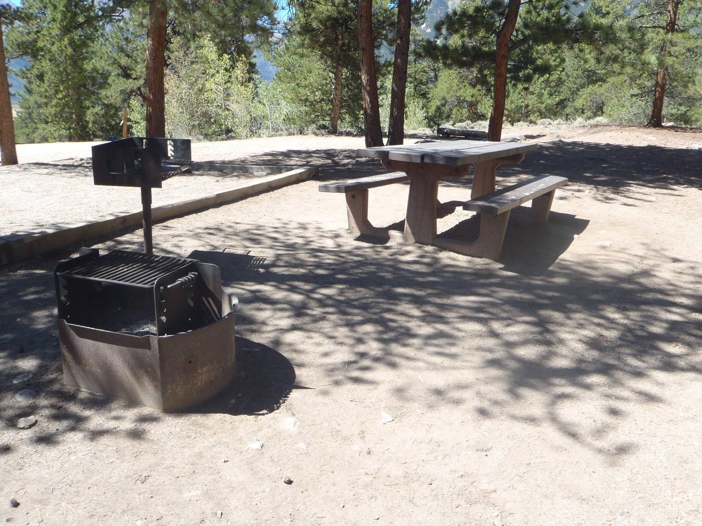 Lakeview Campground, site B5 picnic table and fire ring