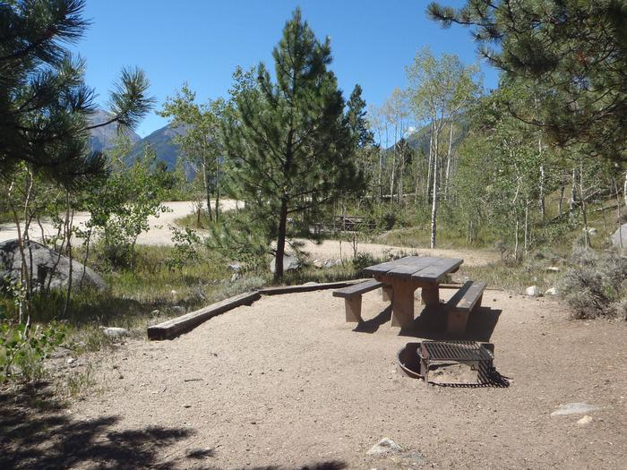 Lakeview Campground, site D3 picnic table and fire ring
