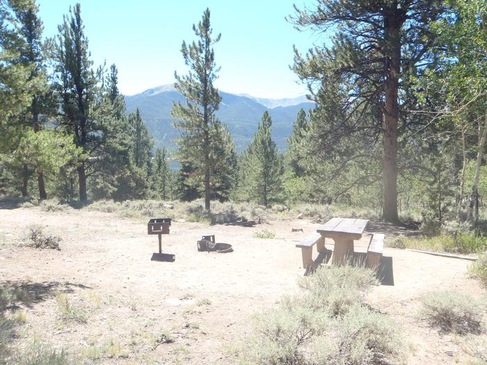 Lakeview Campground, site D6 picnic table and fire ring