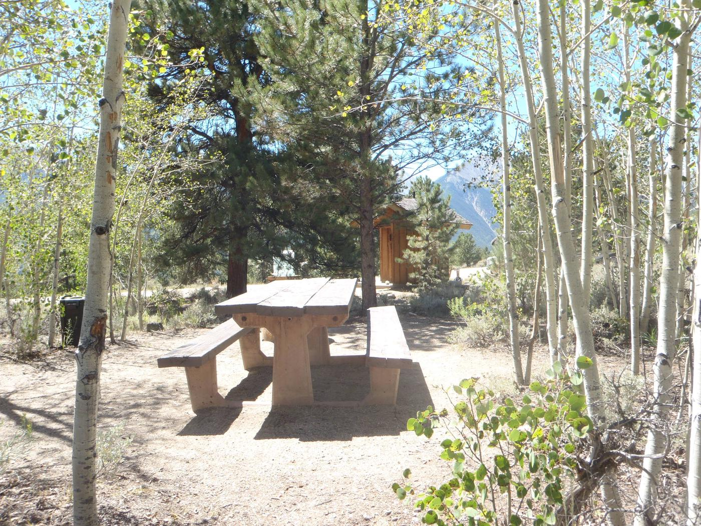 Lakeview Campground, site E12 picnic table