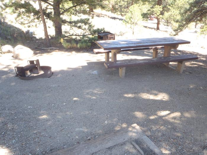 Lakeview Campground, site F3 picnic table and fire ring 2
