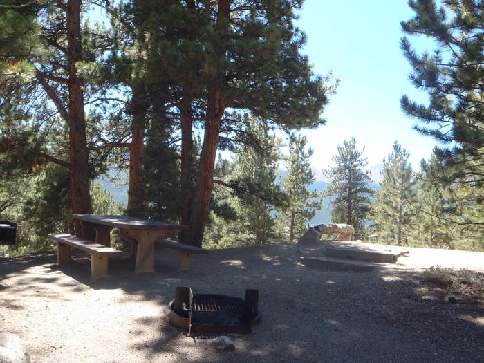 Lakeview Campground, site F3 picnic table and fire ring