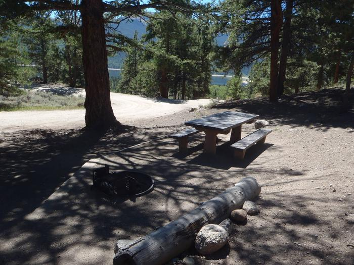 Lakeview Campground, site F5 picnic table and fire ring 2