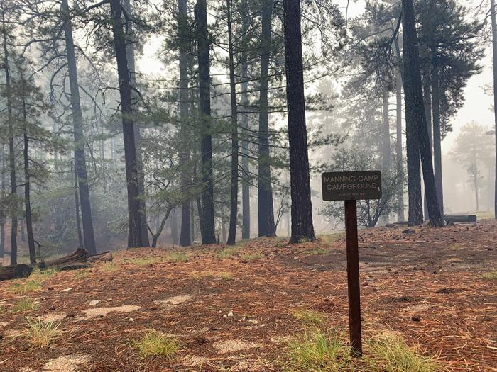 Manning Camp with smoke from the Spud Rock Fire, September 2020