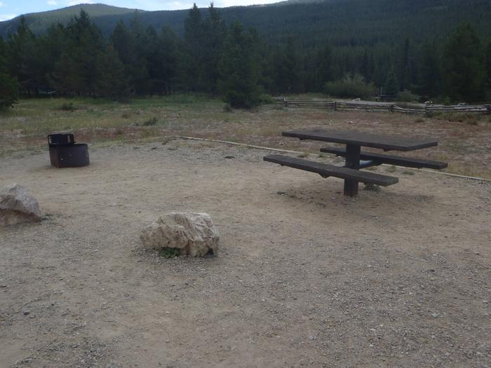 May Queen Campground, site 12 picnic table and fire ring