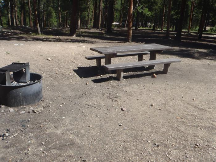 Molly Brown Campground, site 19 picnic table and fire ring