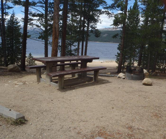 Molly Brown Campground, site 4 picnic table and fire ring