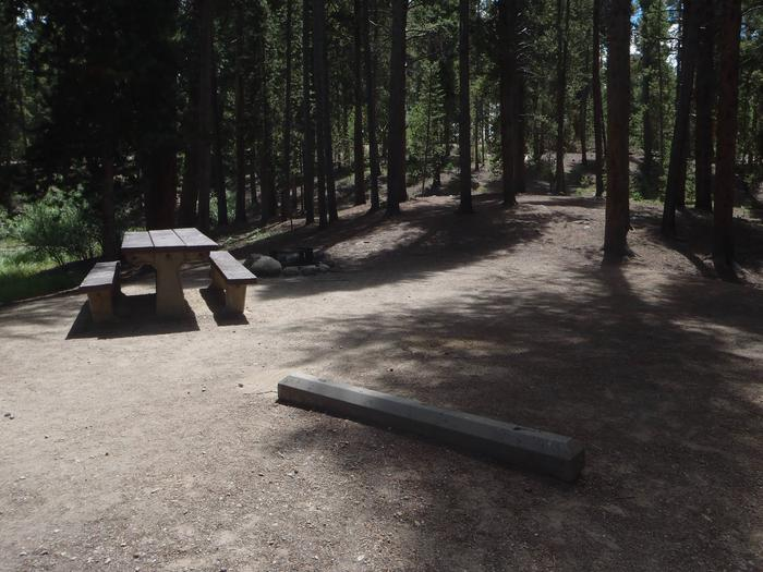 Molly Brown Campground, site 20 picnic table and fire ring