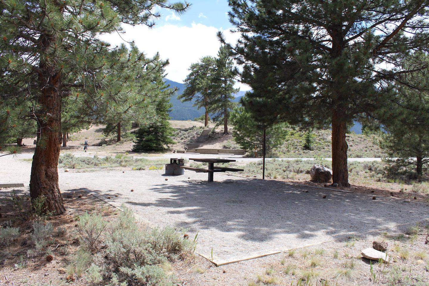 White Star Campground, site 13 picnic table and fire ring