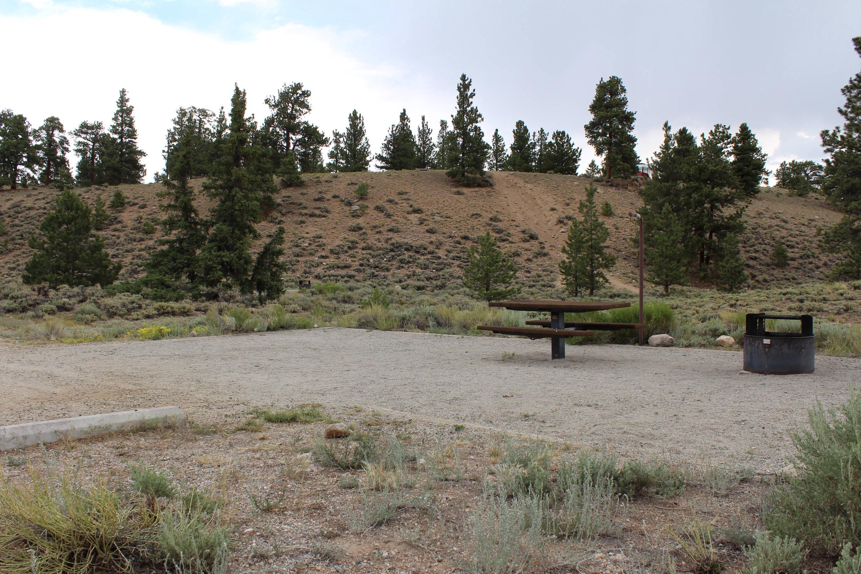 White Star Campground, site 20 picnic table and fire ring