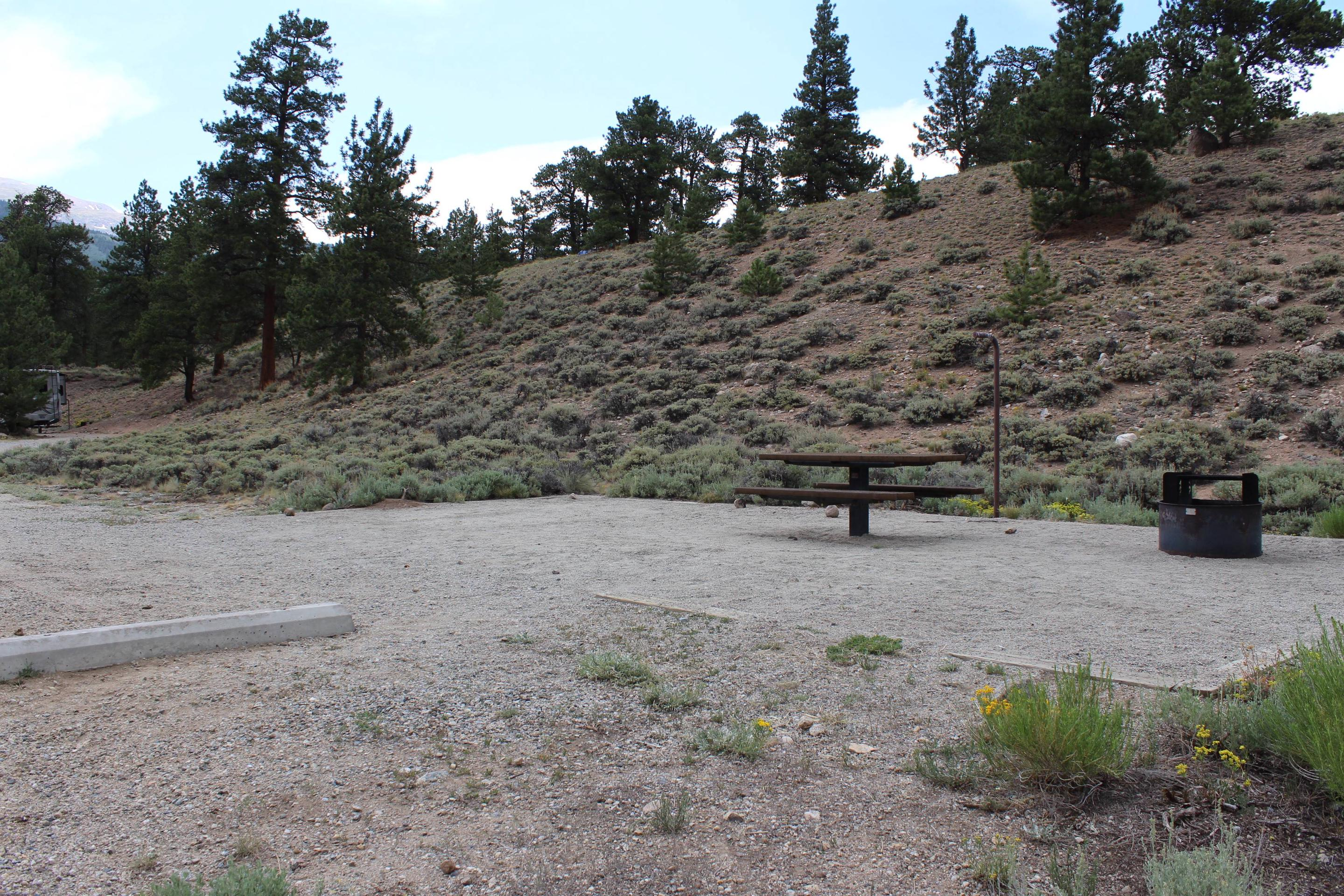 White Star Campground, site 21 picnic table and fire ring