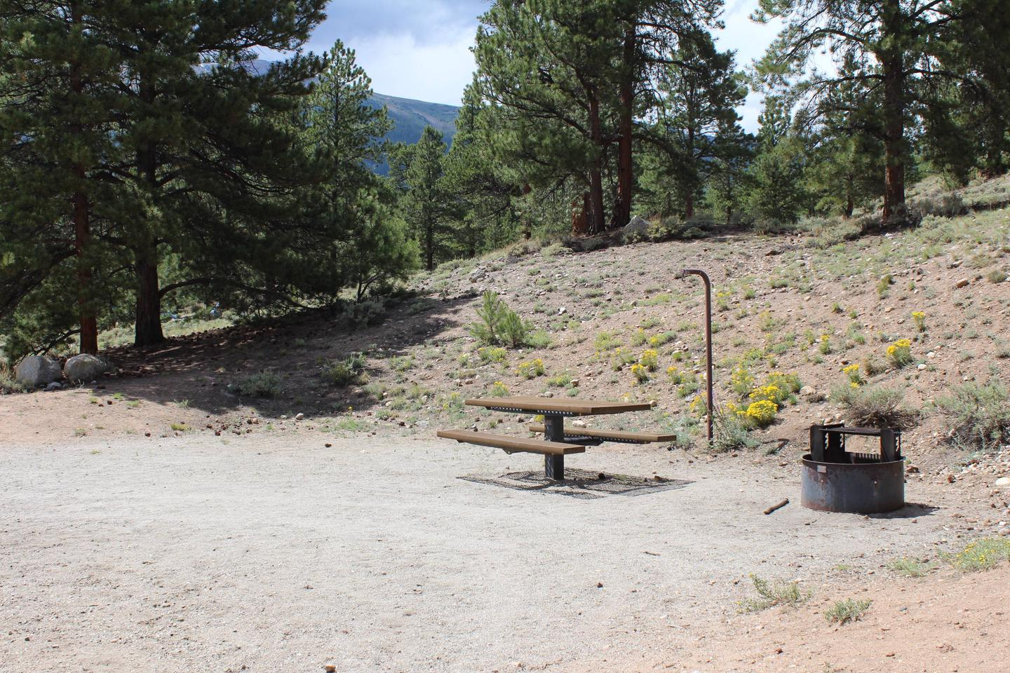 White Star Campground, site 23 picnic table and fire ring