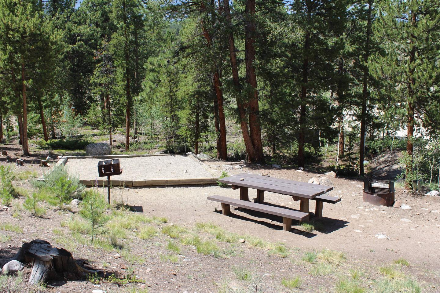 White Star Campground, site 66 picnic table and fire ring