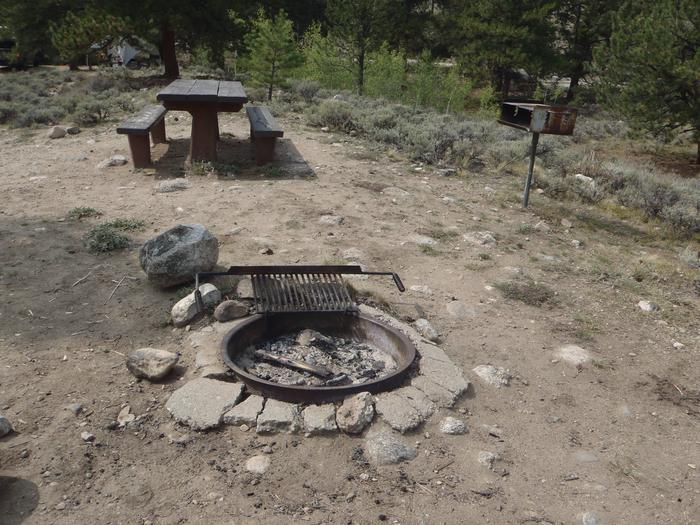 White Star Campground, site 47 picnic table and fire ring