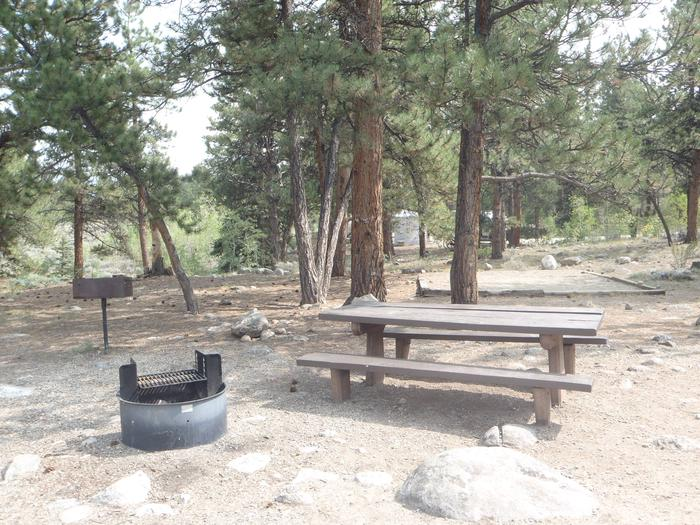 White Star Campground, site 61 picnic table and fire ring