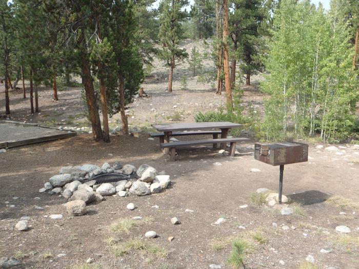 White Star Campground, site 65 picnic table and fire ring