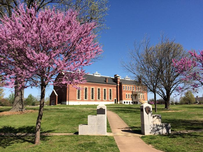 Spring MorningBlooming Redbud trees frame the sidewalk leading to the visitor center.