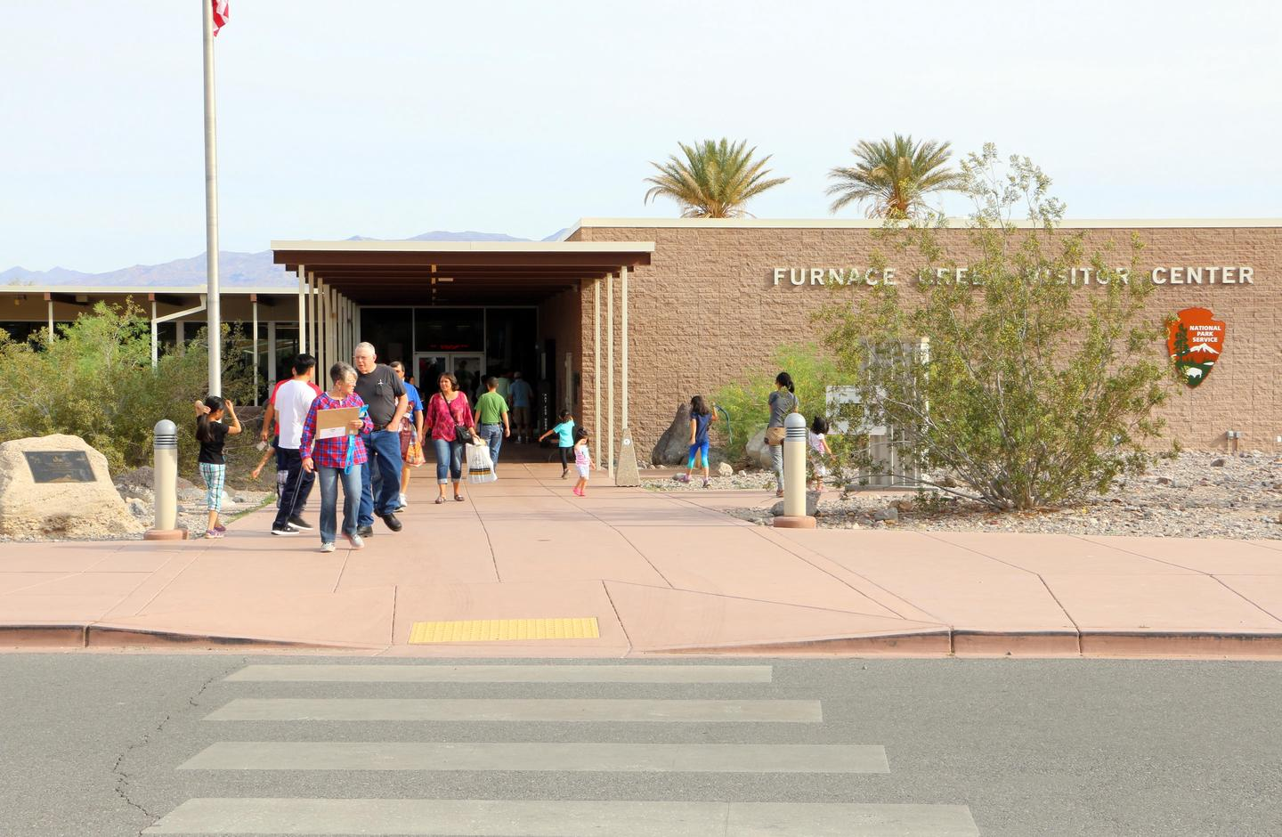 Furnace Creek Visitor Center EntranceThousands of people visit Furnace Creek to talk to rangers, watch the park film, learn from exhibits, and shop in the bookstore.