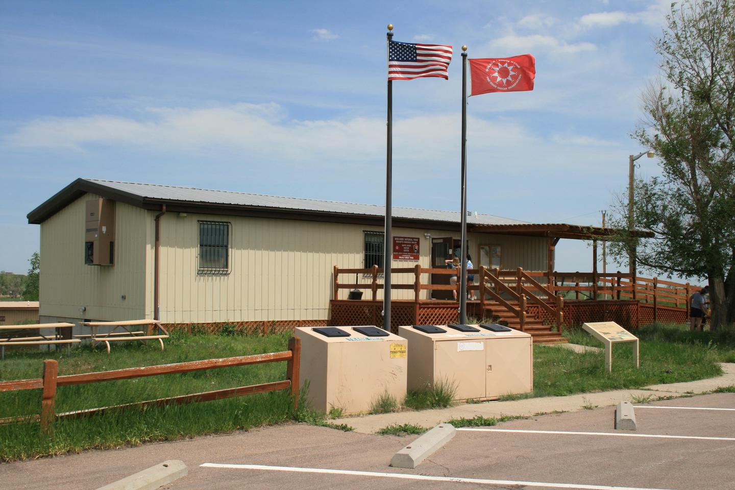 White River Visitor Center 001The visitor center is located on Pine Ridge Indian Reservation and flies the flag of the Oglala Sioux Tribe accordingly.