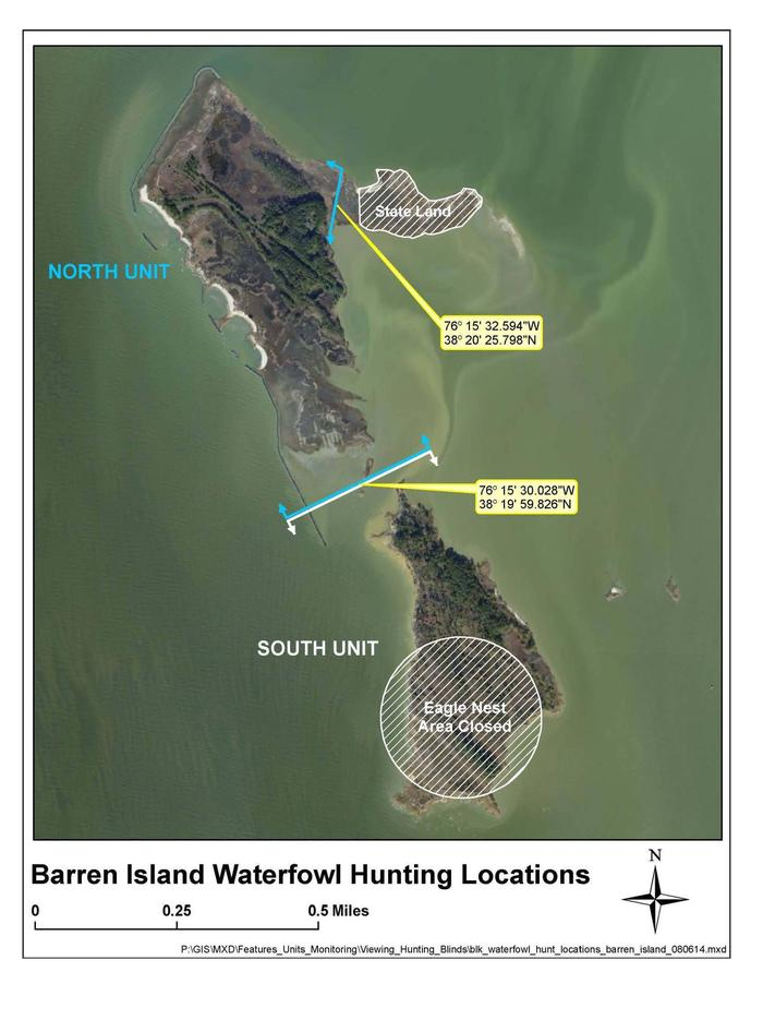Barren Island MapImage of two units within the Barren Island waterfowl hunt area.