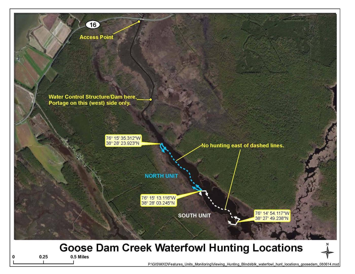 Goose Dam Creek MapImage of the two units within the Goose Dam Creek waterfowl hunt area.