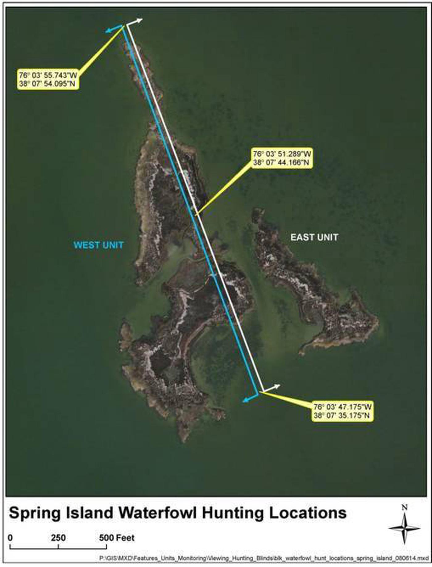 Spring Island MapSpring Island Waterfowl Hunting Map