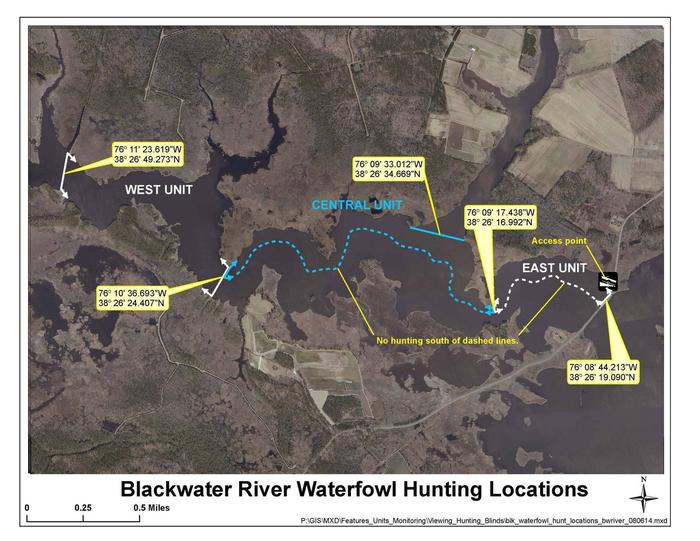 Blackwater River MapImage of three units within the Blackwater River waterfowl hunt area.