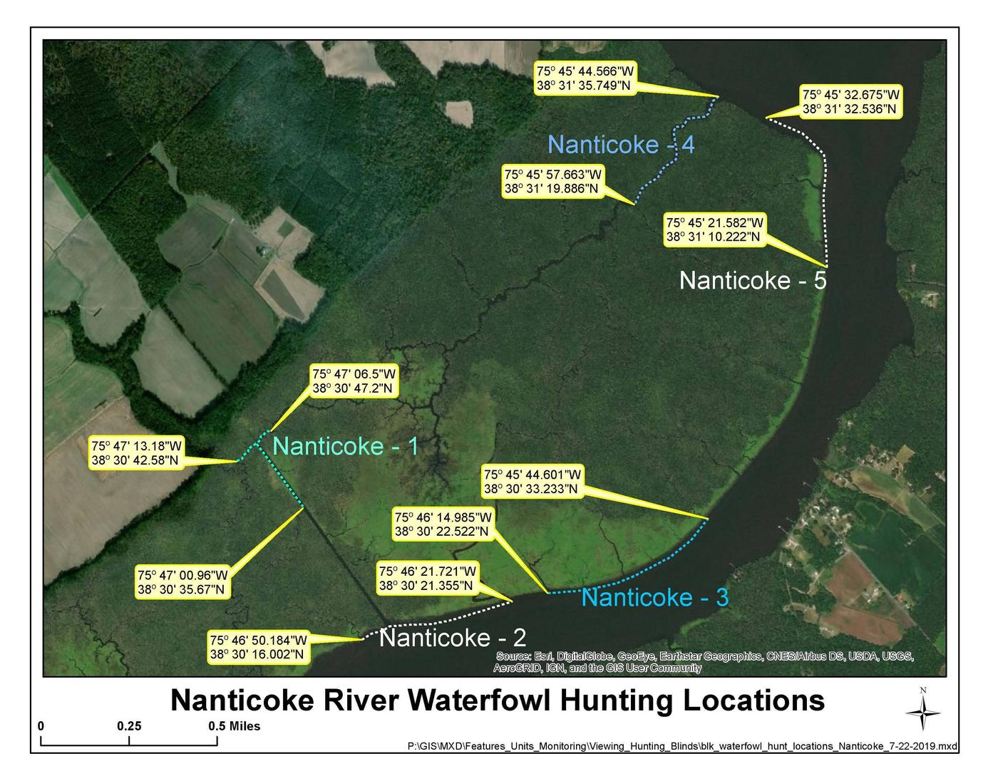Nanticoke River MapImage of five units within the Nanticoke River waterfowl hunt area.