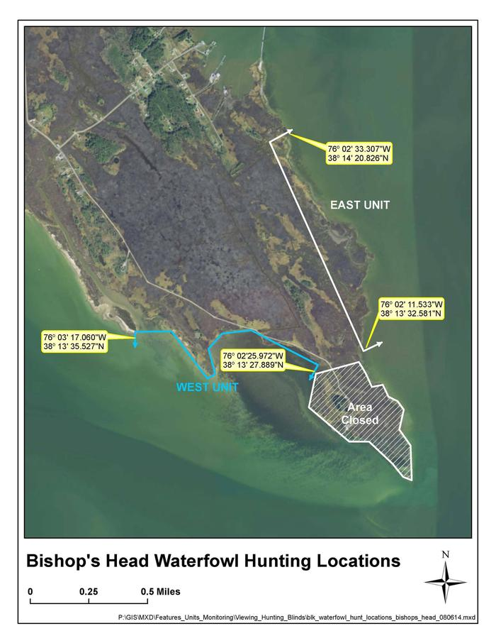 Bishop's Head MapImage of two units within the Bishop's Head waterfowl hunt area.