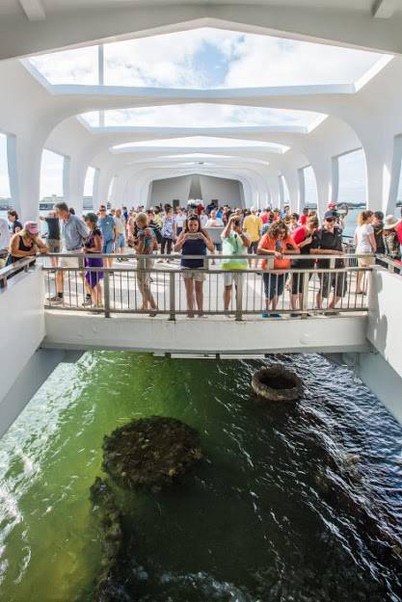 Visitors on the USS Arizona Memorial