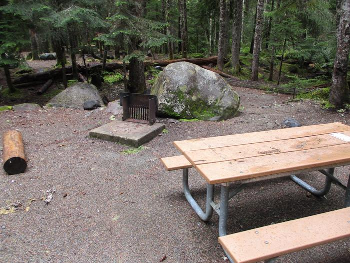 Picnic Table, Tent Pad, and Fire Ring