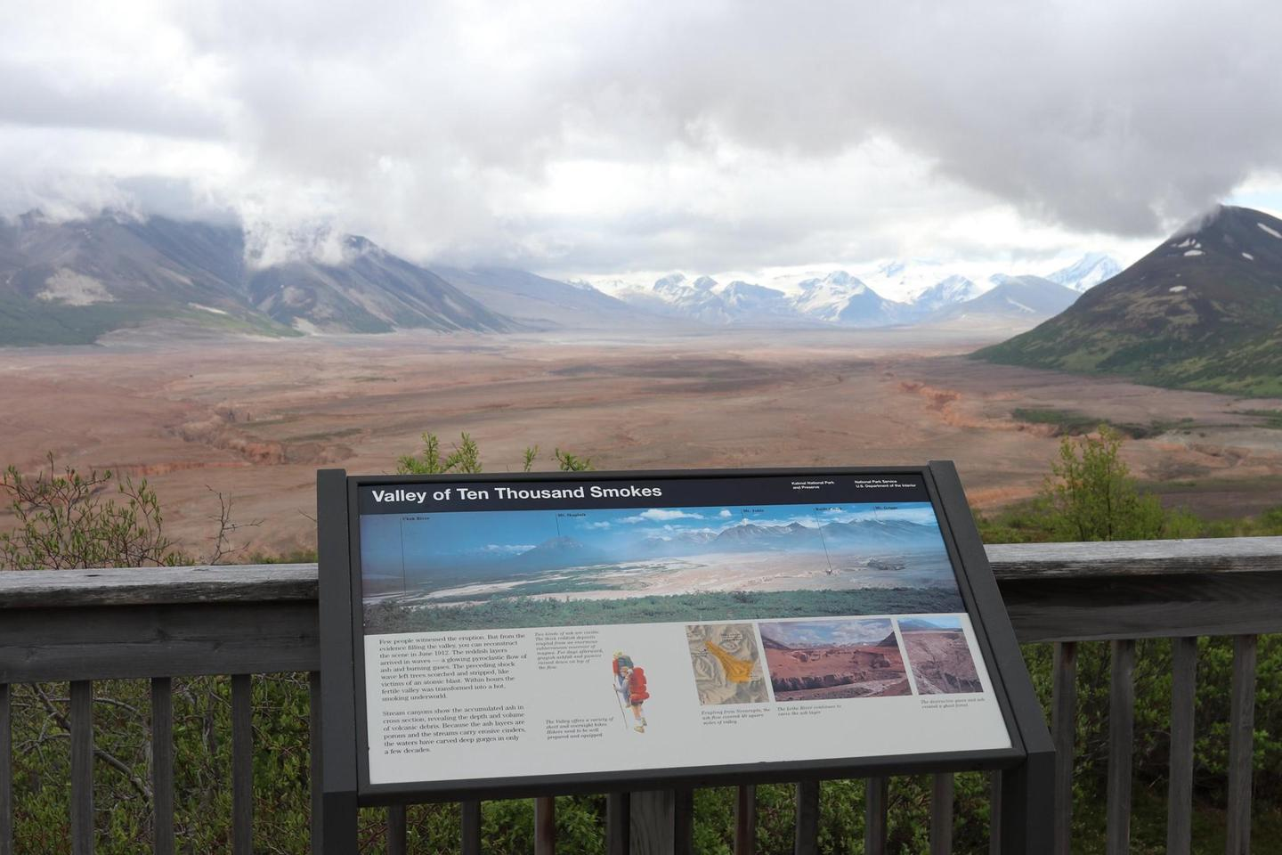 View of Valley of Ten Thousand Smokes from Griggs Visitor CenterVisitors on a Valley of Ten Thousand Smokes tour will stop at the Robert F. Griggs Visitor Center which has magnificent views like this.