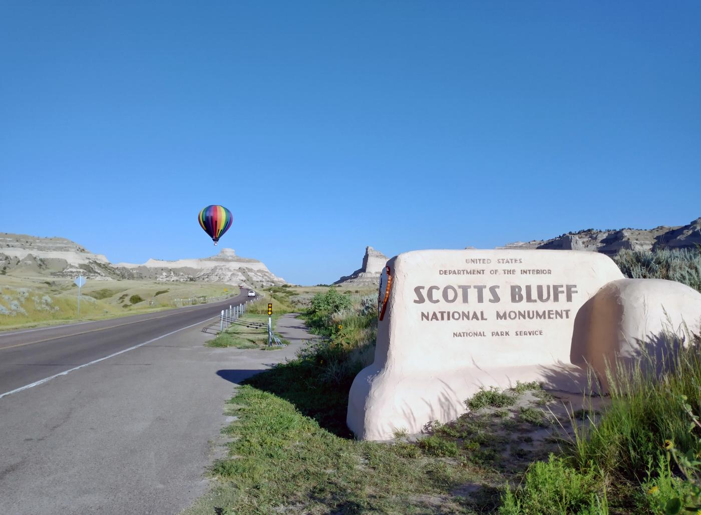 A Hot Air Balloon at the East Entrance to the MonumentA hot air balloon is seen at the east entrance to Scotts Bluff National Monument.