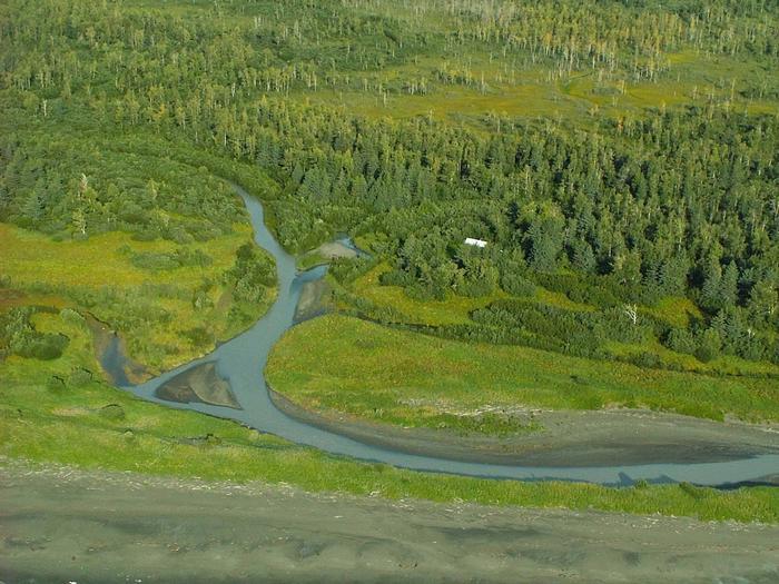 aerial view of Esker Stream Cabin (Wrangell-St Elias)
