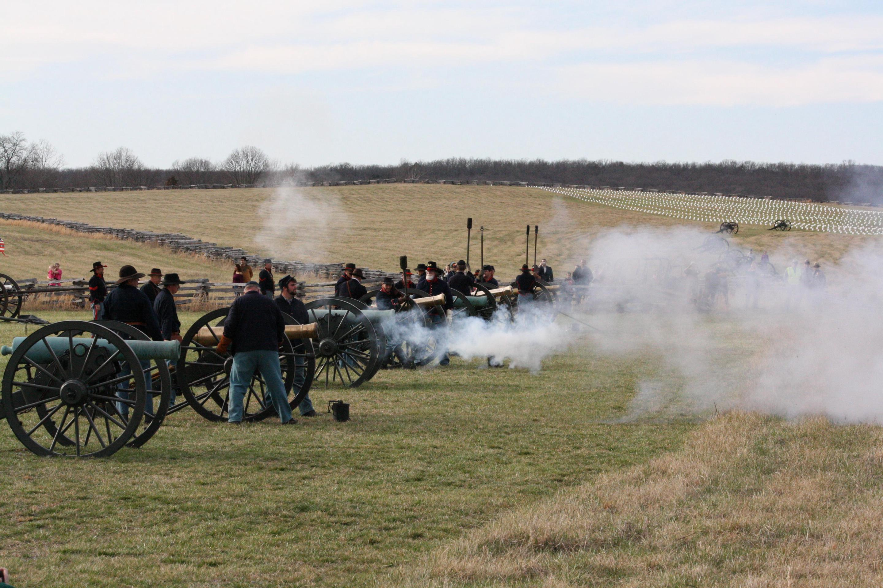 Union CannonsPhoto of Union artilleryman reenactors standing in Cox's field firing cannon's on the 150th Anniversary of the Battle of Pea Ridge.