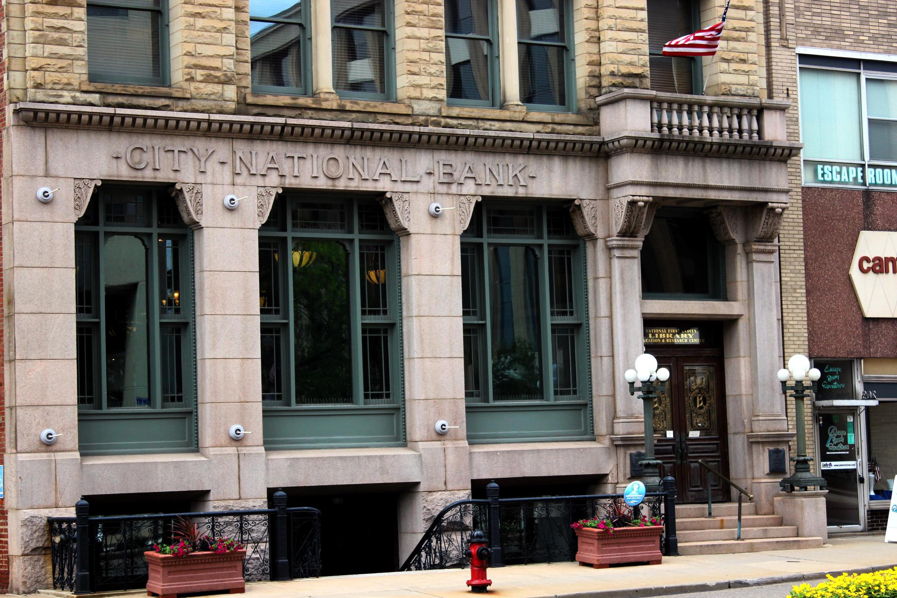 Front Door of the Education CenterThe education center is is the historic City National Bank building.