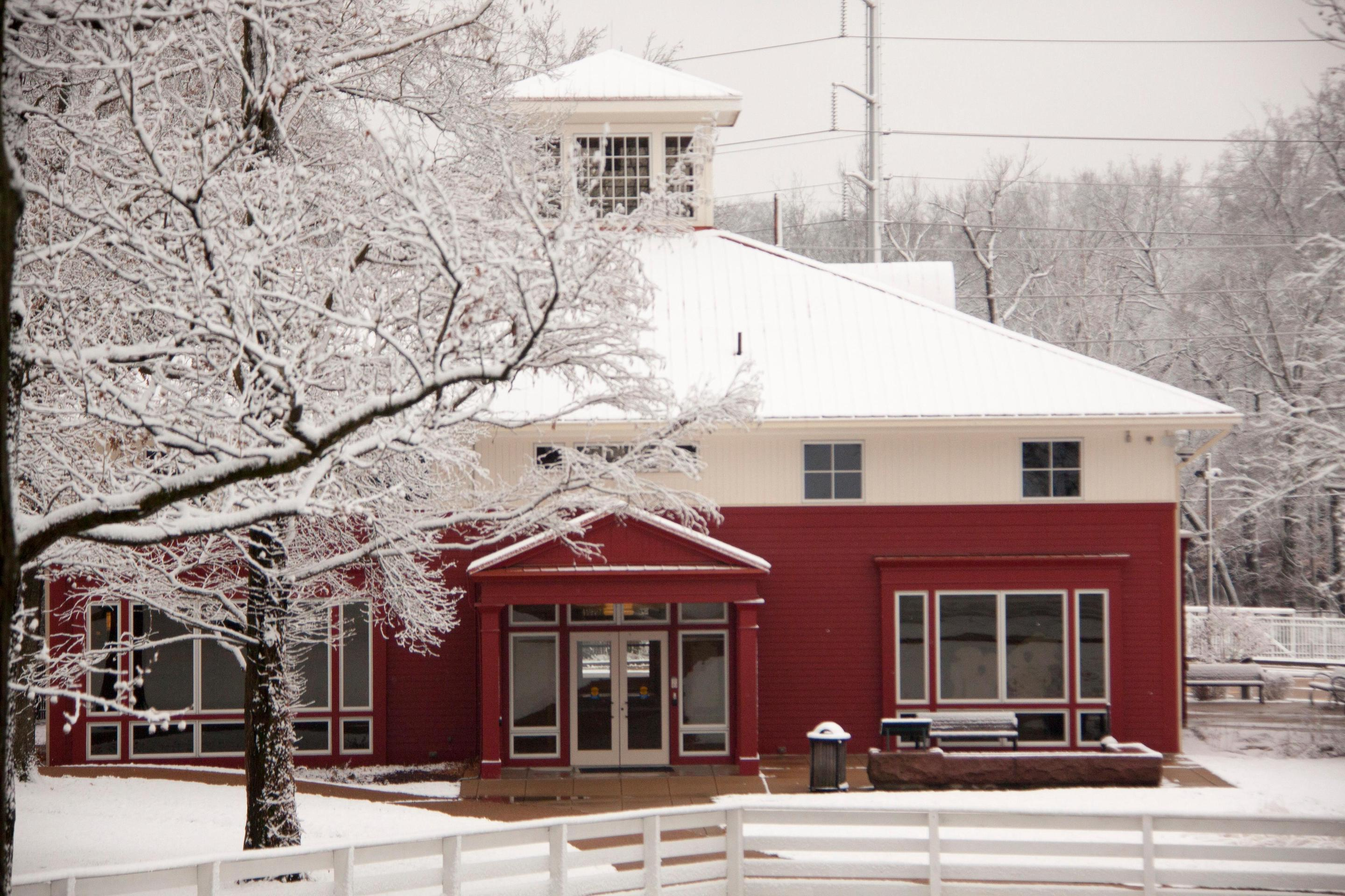 Visitor Center in the SnowVisitor Center at Ulysses S. Grant National Historic Site on a snowy day.