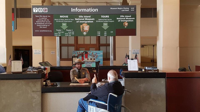Ellis Island Information DeskStart your visit to Ellis Island by stopping at the Information Desk