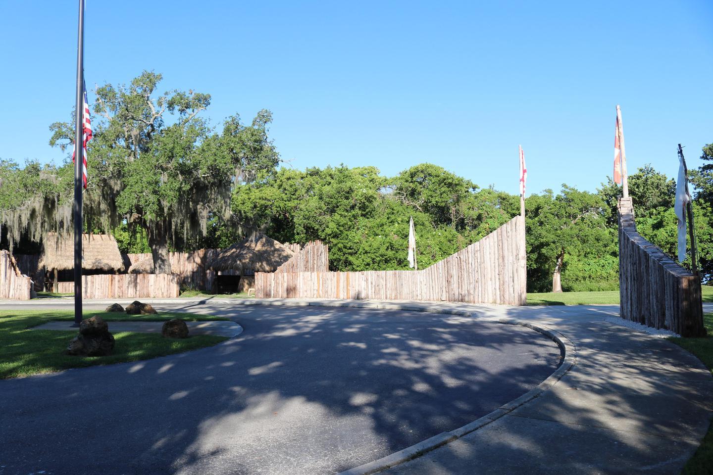 De Soto National Memorial's Palisade EntrancePalisade wall, beginning of side walk to visitor center.