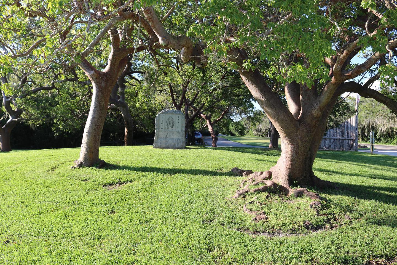 De Soto Trail MarkerGranite marker stone placed in 1939. It denotes the beginning of De Soto's expedition.