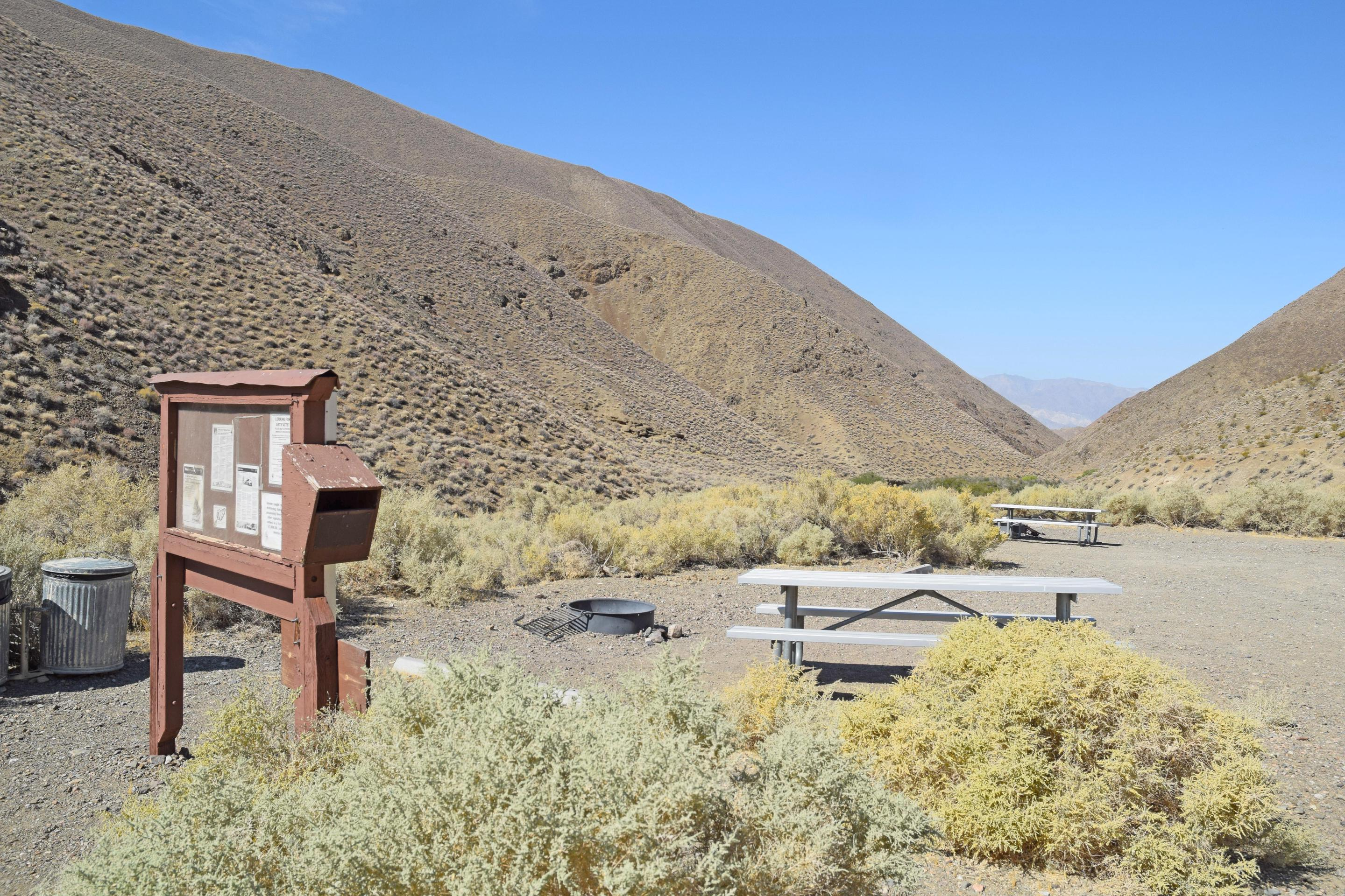 Wildrose CampgroundThis campground is in a valley between gently rolling hills in the Panamint Range.