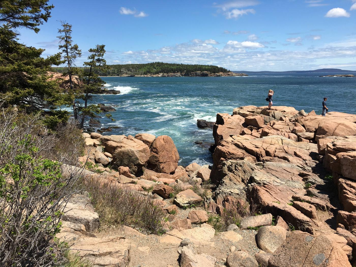 Two visitors walking along rocky shore with tree covered peninsula in background.Visitor enjoy stunning views along Acadia's rocky shore.