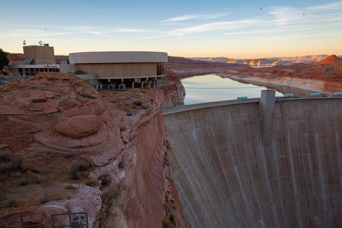 Carl Hayden Visitor Center And Glen Canyon Dam From Glen Canyon BridgeTours of Glen Canyon dam begin in Carl Hayden Visitor Center.