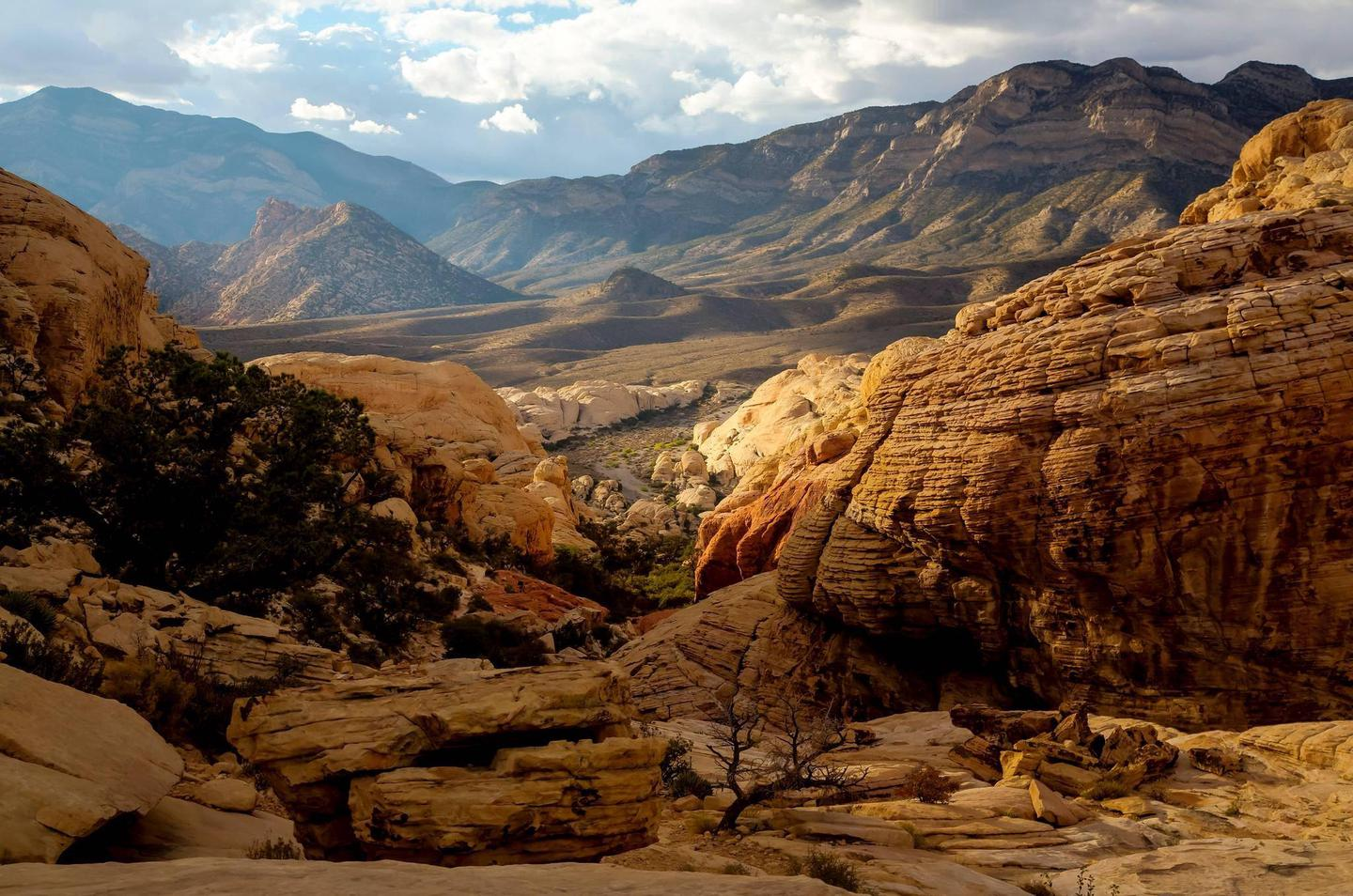 Red Rock Canyon's red sandstone landscape. Red Rock Canyon's iconic red sandstone.