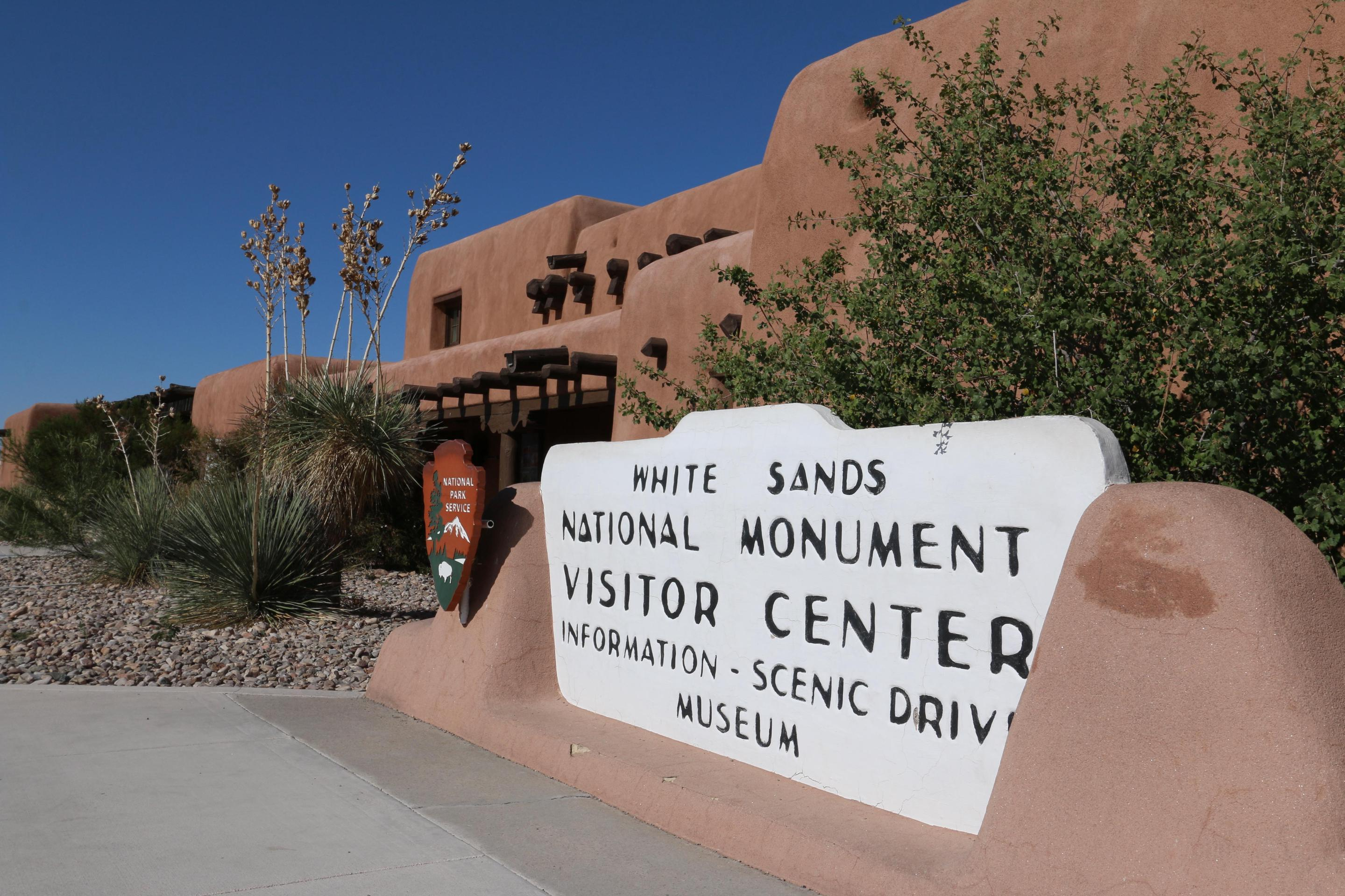 White Sands National Park Visitor CenterThis historic sign greets visitors as they enter the White Sands visitor center complex.